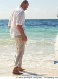 Casual Beach Wedding Attire For Groom Groomsmen Khaki Pants White On