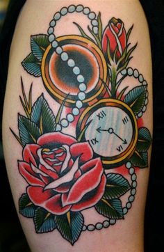 Old School clock and rose Tattoo