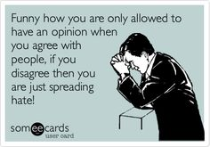 Funny how you are only allowed to have an opinion when you agree with people, if you disagree then you are just spreading hate!