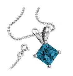 * Penny Deals * - 925 Sterling Silver 1.50 Carat princess CZ Synthetic Blue Topaz Pendant with 18 Inch Rolo Chain >>> Details can be found by clicking on the image.