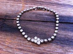 antique 40s rhinestone bracelet / 1940s jewelry by JohannaVintage, $46.00