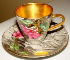 VINTAGE HUTSCHENREUTHER GELB CUP & SAUCER GRAY PINK GREEN GOLD CERAMICS CHINA