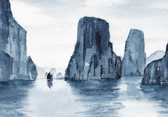 Watercolor by Douglas Winslow, Ha Long Bay, Vietnam. The dry brush technique represents the rocks in a really cool, simplistic way. I just love watercolor, don't you?  :)