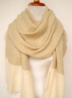 Cashmere w Merino knit Beige w border
