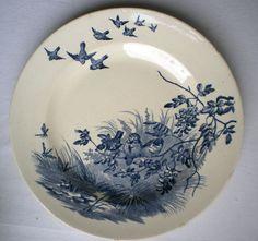 Assiette Terre DE FER Porcelaine Opaque Gien LES Oiseaux | eBay
