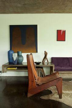 intérieur, déco : Julio Roberto Katinsky House, séjour, moderniste, architecte brésilien