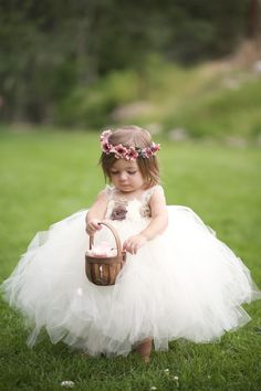 Ivory Tulle Flower Girl Dress with Brown Accents