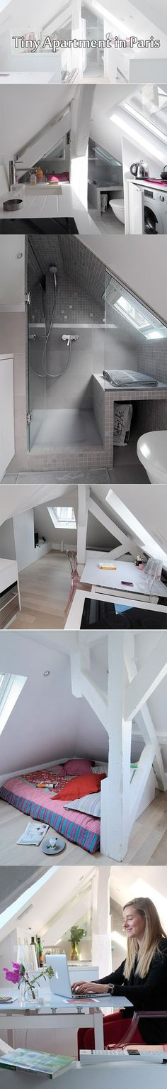 Tiny studio apartment in Paris. Compact living. White. Attic apartment. Scandinavian style. Love the style