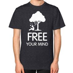 Free your mind Men's T-shirt, American Apparel T-shirt, graphic t-shirt, inspirational tee, holistic tee, custom t shirt (White Icon)
