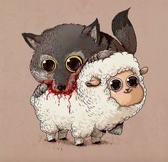 """Illustrator and designer Alex Solis offers an adorable version of the circle of life in his series of cartoons called """"Predator vs. Art And Illustration, Art Illustrations, Cartoon Cartoon, Cute Owl Drawing, Sheep Drawing, Drawing Animals, Animal Drawings, Alex Solis, Lapin Art"""