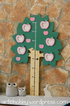 Wooden Tree Growth Chart with photo frames Hand made, Grow chart, Apple tree