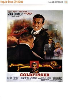 "50% off ESTATE SALE Vintage Goldfinger Poster 1964 Sean Connery James Bond Ian Fleming  12"" x 16"" Thick Paper-Cardboard Print"