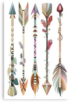 """Boho Tribal Arrows"" Canvas Prints by SarahPears Native Art, Native American Art, Arrow Painting, Aquarell Tattoo, Dream Catcher Art, Tribal Arrows, Feather Art, Arrow Tattoos, Painting Inspiration"