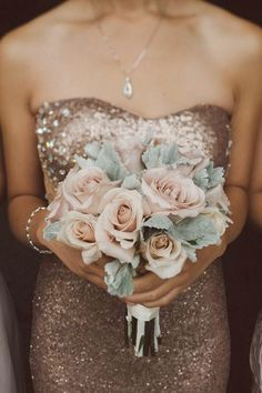 Sequined bridesmaids dress with blush rose and lambs ear bouquet. So perfect.