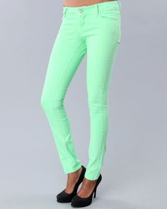 neon green skinnies