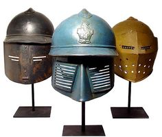 Experimental French helmets designed and built for possible use in WWI.