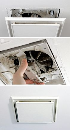 Cleaning the bathroom exhaust fan. Definitely something so many people forget to clean...ever!