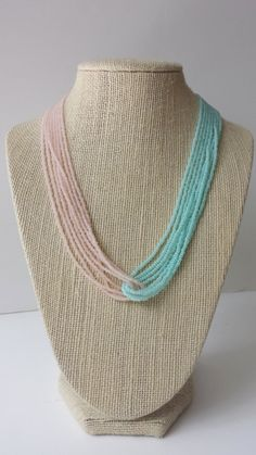 Mint and rose seed bead necklace pink and mint necklace mint
