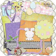 "Funny Bunny - The Kit [Karma] - Here are the papers and elements that make up the ""Funny Bunny"" kit! Funny Bunnies, Digital Scrapbooking, Sisters, Bunny, Kids Rugs, Faith, Paper, Creative, Rabbit"