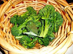 home grown broccoli - submerge in cold water and add salt to kill all worms before preparing to eat!  SALT!!!  Good tip!