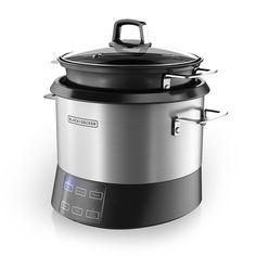 BLACK DECKER RCR520S All-in-One Cooking Pot, 20-Cup Cooked/10-Cup Uncooked Rice Cooker, Slow Cooker and Food Steamer with Saute Function, Stainless Steel -- This is an Amazon Affiliate link. Check out the image by visiting the link.