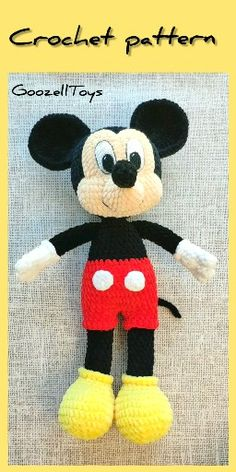 Mickey Mouse Crochet pattern, Amigurumi toy PDF pattern, Disney Toys, Mouse toys for kids, Knit toys : Disney Crochet pattern Mickey Mouse - Amigurumi toy PDF pattern - Disney Toys - Crochet mouse pattern - Plush toys tutorial Disney Crochet Patterns, Crochet Disney, Crochet Patterns Amigurumi, Mickey Mouse Doll, Crochet Mickey Mouse, How To Start Knitting, Knitting For Kids, Knitting Toys, Miki Mouse