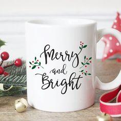 Christmas Mug Merry & Bright Holiday Mug Christmas Coffee Mug Stocking... ($18) ❤ liked on Polyvore featuring home, kitchen & dining, drinkware, drink & barware, home & living, mugs, silver, white mugs, holiday coffee mugs and christmas mugs