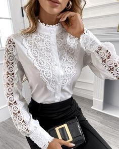 Blouse Styles, Blouse Designs, Trend Fashion, Fashion Outfits, Chic Type, Schneider, Lace Tops, Sleeve Styles, Blouses For Women