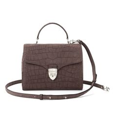 Mayfair Bag in Grey Nubuck Croc from Aspinal of London