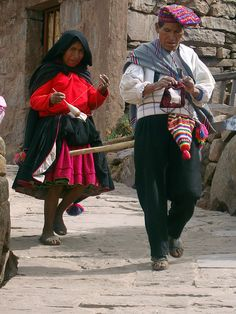 Taquile Island, where traditionally men knit and women spin.