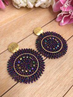 Woven Bead Earrings Boho Chic Pendants Handmade Woven | Etsy Antique Jewellery Designs, Fancy Jewellery, Bead Jewellery, Beaded Jewelry, Jewelry Design, Swarovski Jewelry, Gothic Jewelry, Crystal Jewelry, Paper Earrings