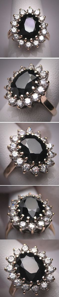 Vintage Sapphire Wedding Ring Princess Di Era by AawsombleiJewelry, $985.00