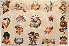 Vintage Flash, Vintage Art, Antique Tattoo, Vintage Tattoo Design, Sailor Jerry Tattoos, Traditional Tattoo Design, Traditional Tattoo Flash, American Tattoos, Classic Tattoo