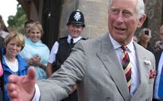 Prince Charles - Coming out of Glastonbury Abbey - July, 2014