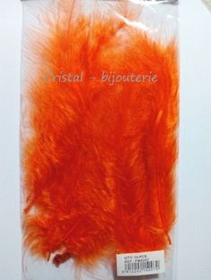 ♥PLU2-10♥ 10 PLUMAS NATURALES TEÑIDAS  FEATHER COLOR NARANJA 13-15 CM♥
