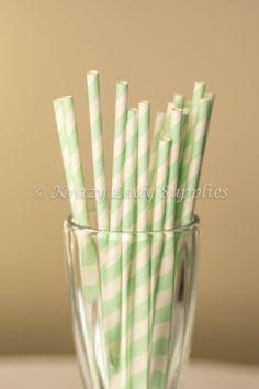 25 Mint Green Striped Paper StrawsCake Pop by KrazyLadySupplies, $4.00