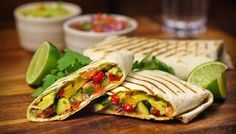 Grilled Vegetable Wraps with Salsa and Guacamole