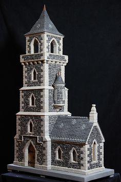 miniature stone lighthouses