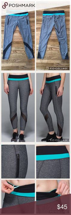 Lululemon Inspire Tight II Mesh Gray Black Blue 10 Lululemon Inspire Tight II Running tights, Heathered Black/Black/Blue Tropics. Size 10. Gray with black mesh panels and blue waistband stripe. Excellent condition EXCEPT frayed stitching on right cheek. I know Lululemon stands by their products when there are material failures, so if you're close to a store you could take it in and see if they would do something about it.  Luxtreme® fabric LYCRA® fibre 2 secure zipper pockets on legs…