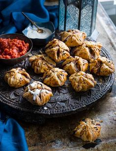 Try our lamb kofta puffs with tahini and tomato sauce recipe. Our easy lamb kofta recipe uses puff pastry. Make our lamb koftas for an easy Christmas canapé Canapes Recipes, Lamb Recipes, Chef Recipes, Sauce Recipes, Meze Recipes, Savoury Recipes, Top Recipes, Yummy Recipes, Appetizers