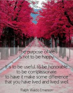 Quote for Today: The purpose of life is not to be happy. It is to be useful, to be honorable, to be compassionate, to have it make some difference that you have lived and lived well. --Ralph Waldo Emerson