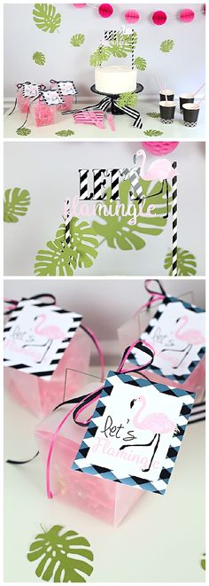 Let's Flamingle this Summer + Free Party Printables | Cute and Easy Flamingo Party Ideas - Cake Toppers and Favor Tags | @joannstores  by @kimbyers TheCelebrationShoppe.com