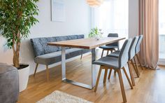 Individual kitchens: table and bench- Küchen ganz individuell: Tisch und Bank Dining table with oak top - Paint Colors For Living Room, Living Room Decor, Küchen Design, Interior Design, Dining Table With Bench, Living Comedor, Dining Room Design, Sweet Home, Furniture