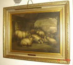 ANTIQUE BRITISH JOHN W. MORRIS ATTRIBUTED CATTLE & SHEEP IN A BARN OIL PAINTING