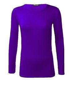 28912b93460e63 New Womens Long Sleeve Round Neck Plain Basic Ladies Stretch T-Shirt Top 8-
