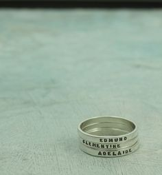 Mothers Rings  personalized ring with your child's name (by KathrynRiechert)