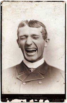 Here's something we don't see very often: a big smile in a Victorian cabinet card portrait. This is Nathan (Nate) Salsbury (1846-1902), founder and manager of Salsbury's Troubadours, a musical comedy troupe that performed in the 1870s-80s. Salsbury later became co-owner of the Buffalo Bill Wild West Show.
