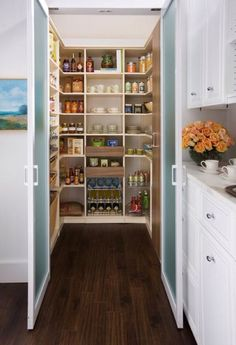 Traditional Pantry with High ceiling, Hardwood floors, Off-White 3-Lite Frosted Glass Pivot Interior Door, Built-in bookshelf