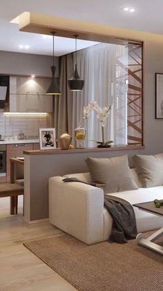 Small Modern Kitchens, Modern Kitchen Design, Interior Design Kitchen, Dark Living Rooms, Living Room Decor, Bedroom Decor, Home Room Design, House Design, Tiny Apartment Living