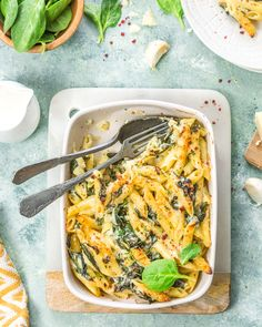 gratin de pâtes chèvre et épinards-1-2 Healthy Cooking, Quiche, Casserole, Breakfast, Kitchen, Recipes, Voici, Household, Foods